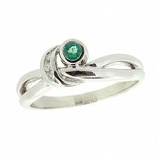 Серебряное кольцо с бриллиантами и изумрудом Хероу
