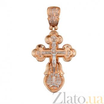 Золотой крестик с белым родированием Воскресный VLT--КС3034-2