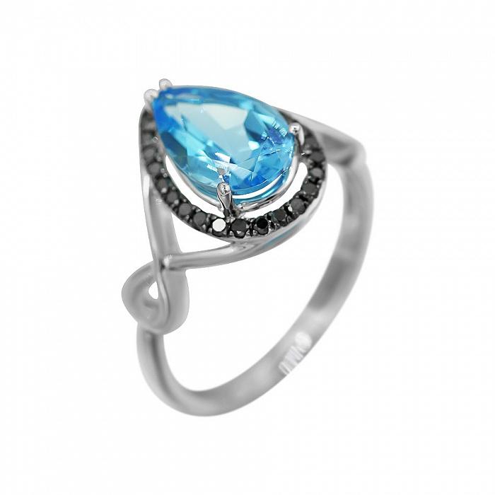 Кольцо из белого золота Келли с голубым топазом и черными бриллиантами 000080896