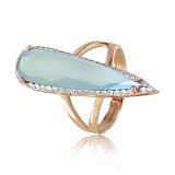 Золотое кольцо Галадриэль с голубым лунным халцедоном и фианитами