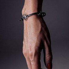 Кожаный браслет с серебром Sun Black с чернением
