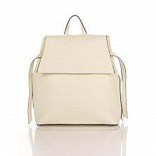 Кожаный рюкзак Genuine Leather 8945 бежевого цвета с клапаном на магнитной кнопке