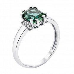 Серебряное кольцо с зеленым агатом и фианитами 000119393