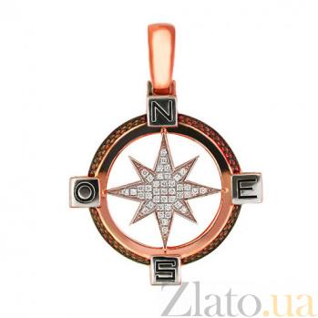 Подвеска Путеводная Звезда из красного и белого золота с цирконием VLT--Т3313-3