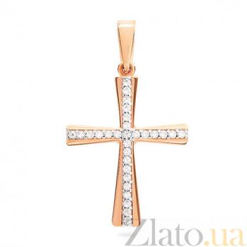 Золотой крестик с фианитами Кристэль SUF--440436