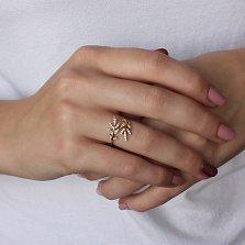 Золотое кольцо Лиственные побеги с фианитами