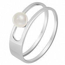 Кольцо в белом золоте Встреча у моря с жемчугом