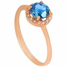 Золотое кольцо Ульса с топазом и фианитами