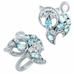 Серебряное кольцо Гламурный кот с топазами и фианитами