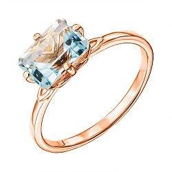 Кольцо из красного золота с голубым топазом 000137284