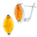 Серебряные серьги Ясмина с янтарем