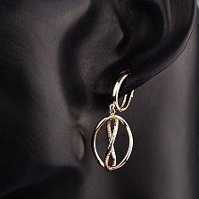 Золотые серьги-подвески Уроборос с алмазной гранью
