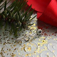 Серебряная брошь Флора с сапфиром и бриллиантами
