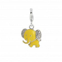 Детский серебряный брелок Слон с желтой эмалью и белыми фианитами, 14х17мм