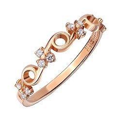 Золотое кольцо в красном цвете с фианитами 000007308