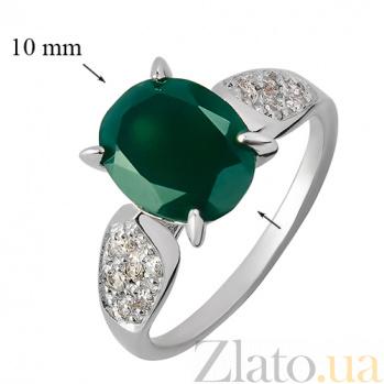 Серебряное кольцо с агатом и фианитами Нежность 000013315