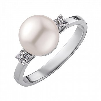 Кільце з білого золота з перлами і діамантами 000147797