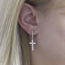 Серебряные серьги-подвески Крестоносцы с дорожками белых фианитов и родием