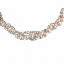 Тройное ожерелье Далила из фиолетового жемчуга с серебряной застежкой