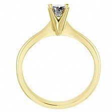 Кольцо в желтом золоте с бриллиантом Победа любви, 4мм