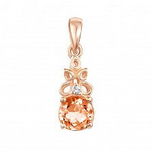 Подвеска из красного золота с шампаньевым и белым кристаллами Swarovski 000133927