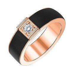 Кольцо из красного золота с каучуком и фианитом 000047995