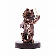 Бронзовая скульптура Лови удачу с холодной эмалью, серебрением и позолотой на мраморной подставке