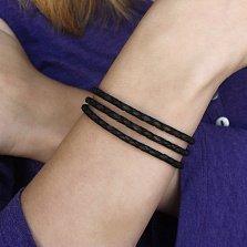 Черный многослойный кожаный браслет Мирра с серебряным замком, 3мм