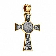 Крестик из серебра Добрый пастырь с позолотой и чернением