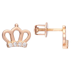 Серьги-пуссеты в виде короны из красного золота с бриллиантами 000066097