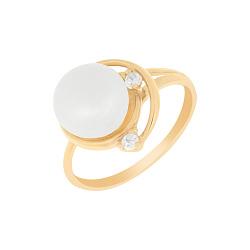 Золотое кольцо Леонтина с белыми жемчугом и фианитами