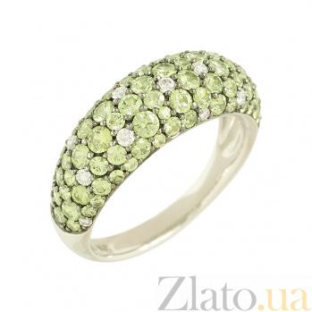 Золотое кольцо с цаворитами и бриллиантами Фелисия 1К113-0099