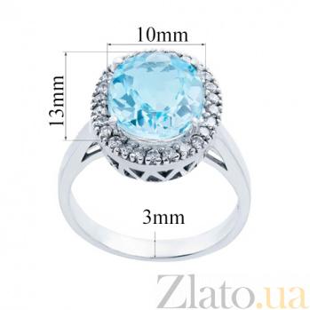 Серебряное кольцо с топазом и фианитами Бирюза AQA--R00758T