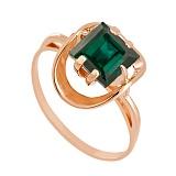 Золотое кольцо Заир с синтезированным аметистом