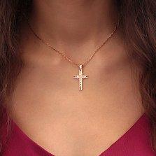 Золотой крестик Изящество в красном цвете с фианитами
