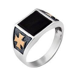 Серебряное кольцо с золотыми накладками и черным ониксом 000116868