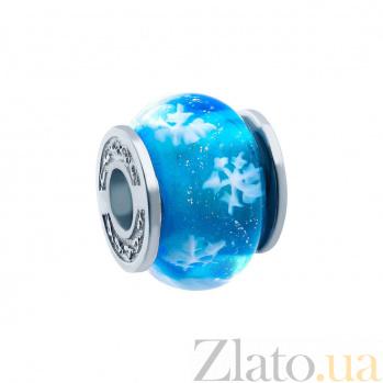Бусина серебряная с муранским стеклом Снежинка AQA--JXH202
