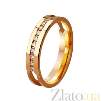 Золотое обручальное кольцо Решающий шаг с фианитами TRF--412995