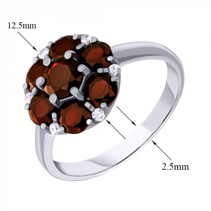 Серебряное кольцо Серсея с гранатом и фианитами 000063431