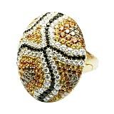Золотое кольцо с бриллиантами и желтыми сапфирами Волшебная фреска