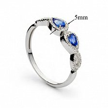 Золотое кольцо Меланта с сапфирами и бриллиантами