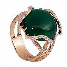 Золотое кольцо с зеленым агатом Тифия