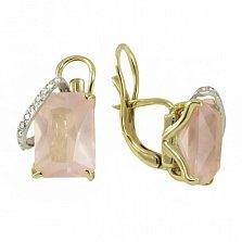 Золотые серьги Саманта с розовым кварцем и фианитами