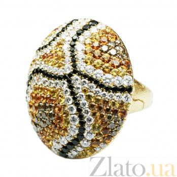 Золотое кольцо с бриллиантами и желтыми сапфирами Волшебная фреска 000029281