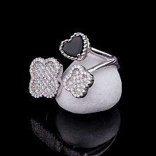 Серебряное кольцо Мэрибель с ониксом и фианитами