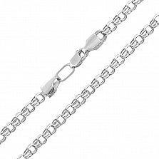 Серебряная цепь Клермонт в плетении бисмарк с алмазной гранью