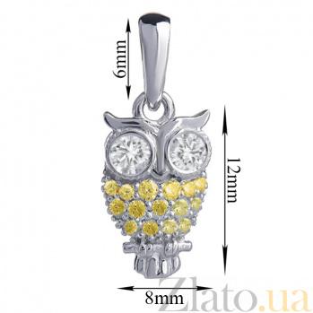 Золотой кулон с белыми и жёлтыми бриллиантами Сова P0731/бел/жёл-бел бр