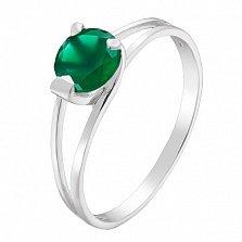 Серебряное кольцо Шанти с зеленым агатом