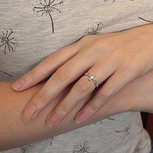 Серебряное родированное кольцо Спаси и сохрани с фианитом в кресте и резной шинкой