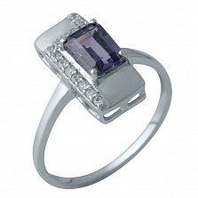 Серебряное кольцо Тавус с александритом и дорожками фианитов